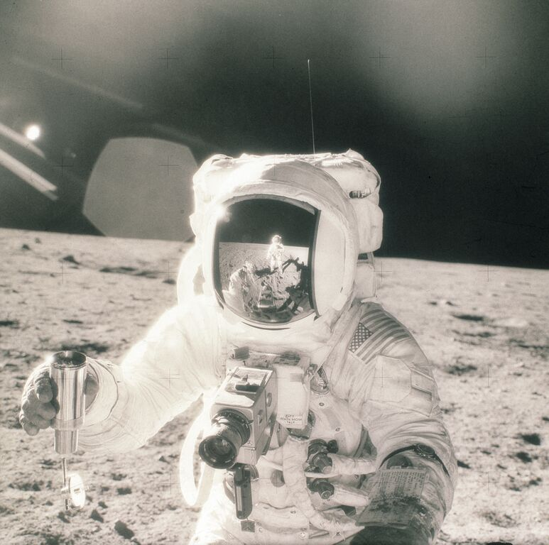 The First Camera on the Moon, Apollo 11. Photo taken by Buzz Aldrin with a Hasselblad 500 HDC, 1969.